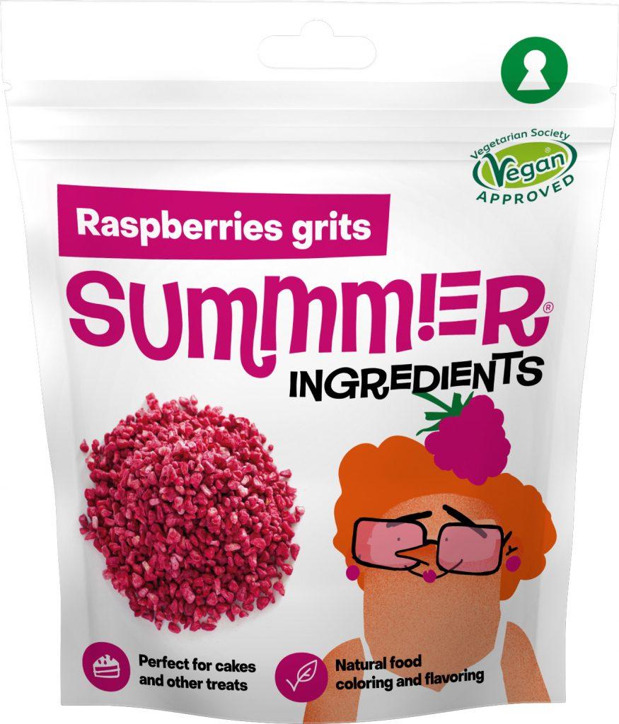 Summmer freeze-dried raspberries grits