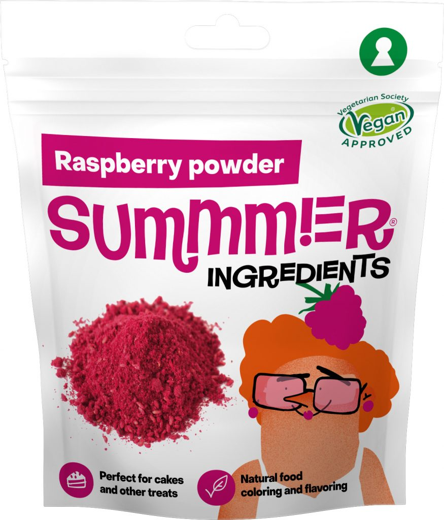 Summmer freeze-dried raspberry powder